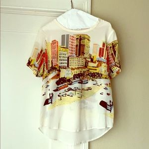 Equipment 100% Silk Blouse City Print size Medium